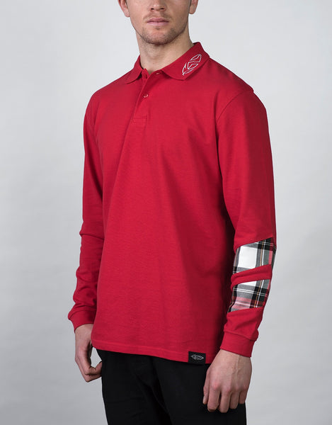 Red Long Sleeve Polo Shirt with Tartan Sleeve Detail