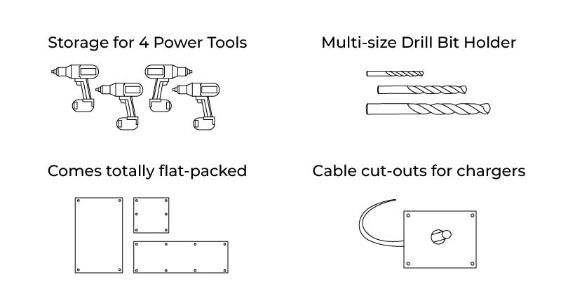 key features of the Power Tool Storage Wall Mount Unit from Indoor Outdoors
