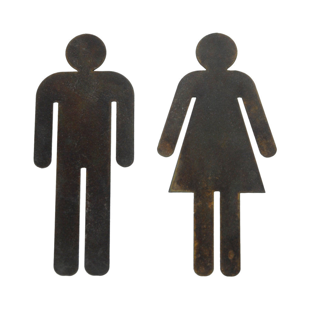 Vintage Steel Male & Female Toilet Door Signs