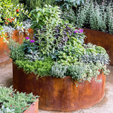 Circular Rustic Steel Raised Flower Bed & Tree Planter