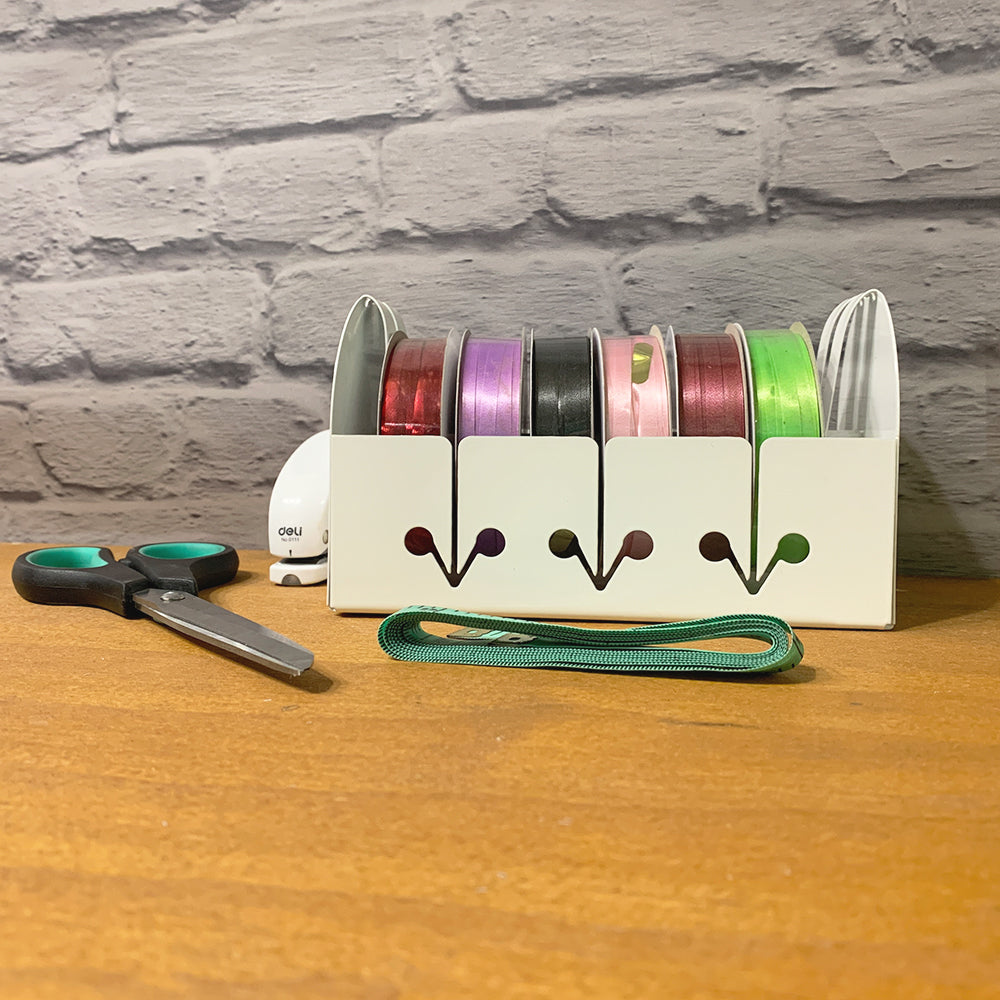 Craftsadora Curling Ribbon Storage Box (with 6 Rolls of Ribbon)