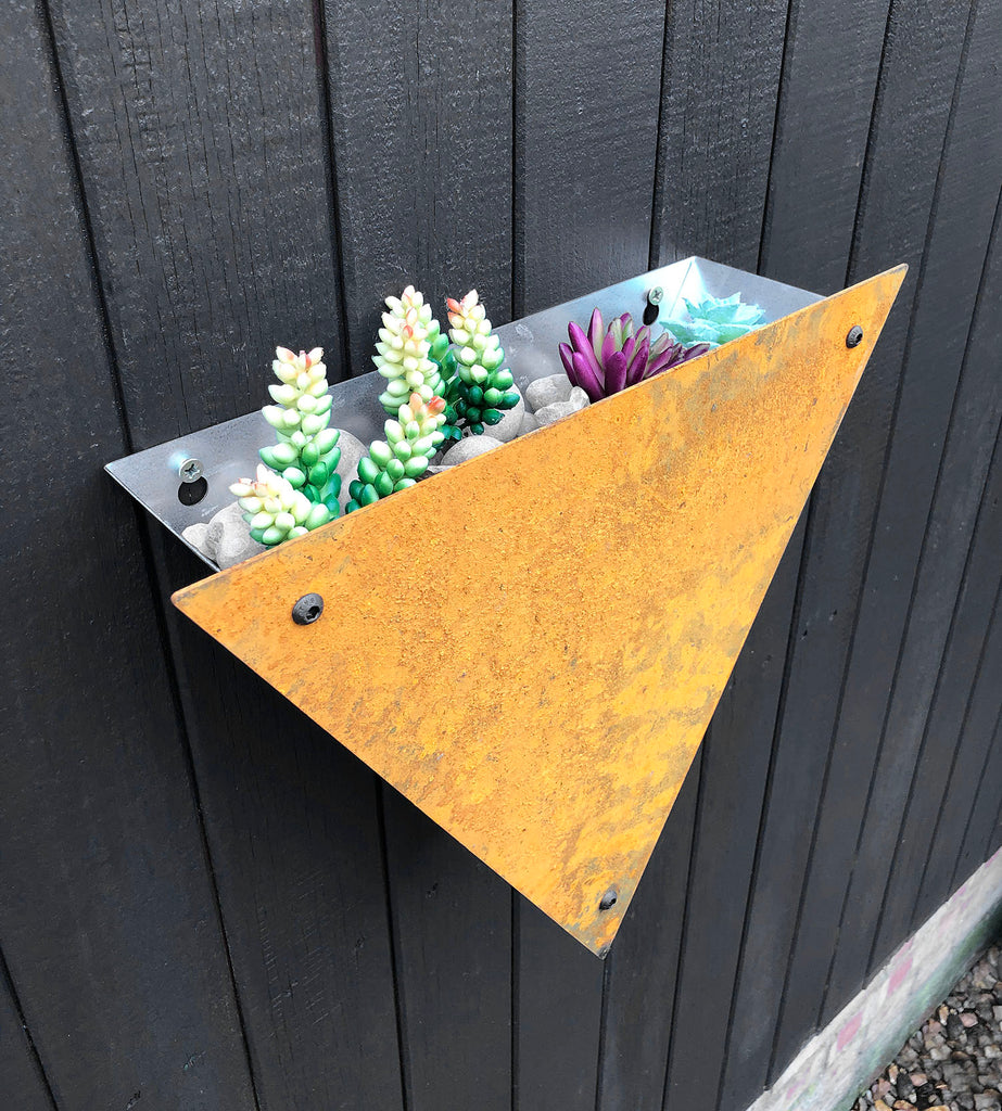 Bellamy Rustic Steel Triangle Wall Mounted Planter