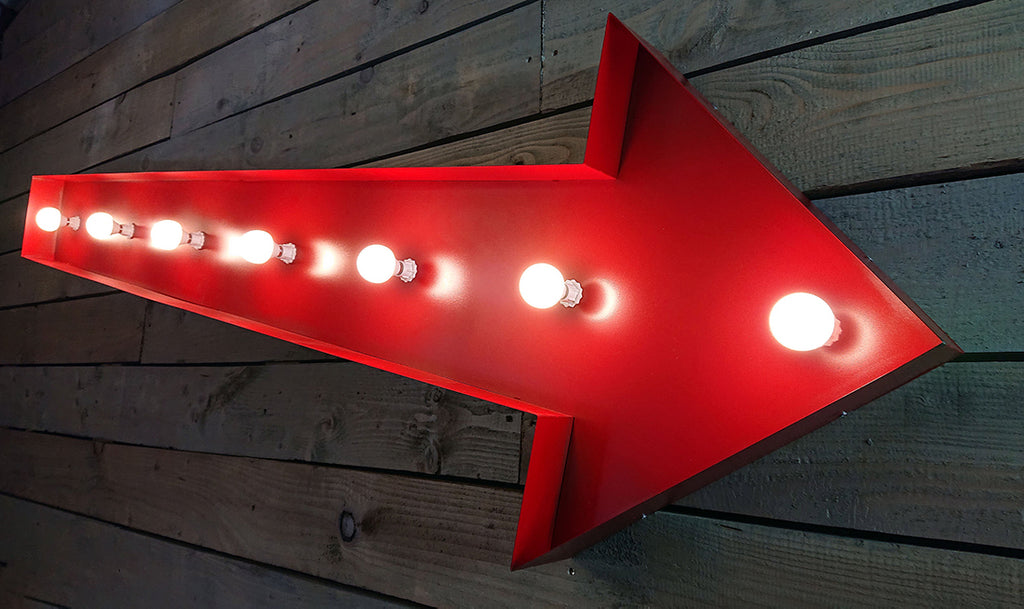 Retro Vintage Light Up Arrow Sign (3 Sizes Available)