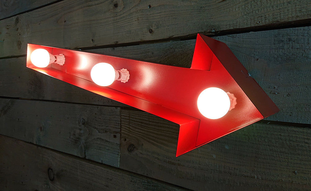 Retro Vintage Light Up Arrow Sign (3 Sizes Available) (4537675153482)