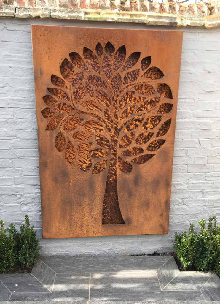 Rustic Steel Wall Mount Plaque - Tree Design