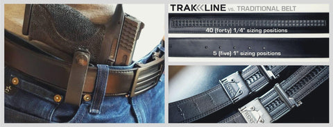 Kore Gun Belts for concealed carry iwb, owb or appendix carry.  Kore ratchet gun belts for EDC and CCW use.