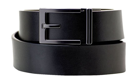 "Men's ratchet belt buckle and black leather belt. The ""Express Belt"" with Trakline technology by Kore Essentials"