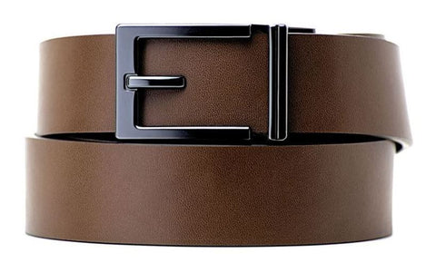 Express belt gunmetal finish and brown genuine leather belt.  No-holes, ratchet men's belt by Kore Essentials.