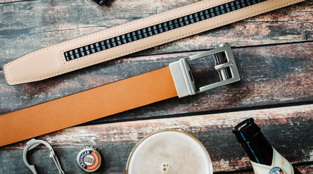 Trakline no-hole, ratchet belts for men by Kore Essentials.