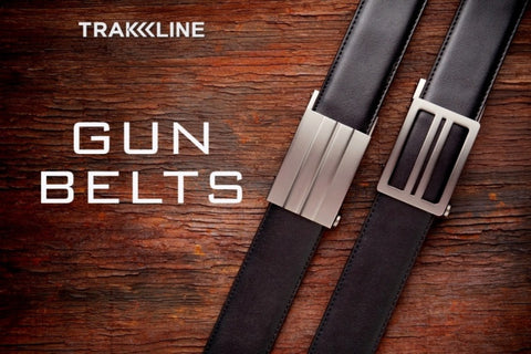 Trakline EDC gun belts by Kore Essentials.  Concealed carry leather gun belts with no-holes. X1 & X2 models shown.