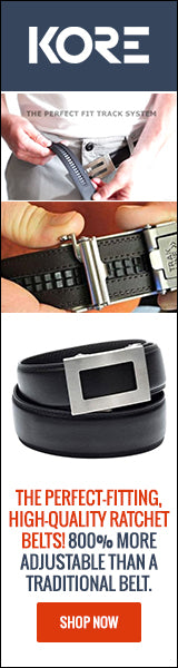Kore Track belts for men. The best fitting ratchet belts for guys.
