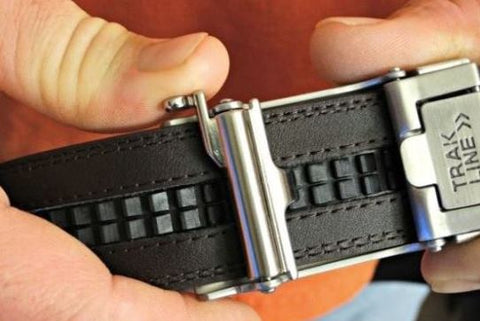 Trakline Gun Belt (backside view) track and ratchet belts fit.  EDC gun belts by Kore Essentials.