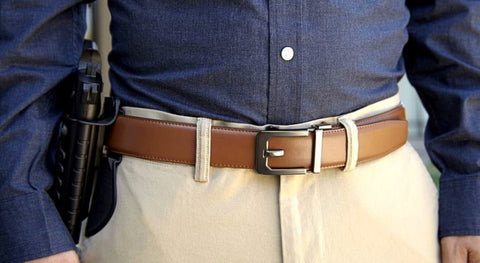 Trakline men's leather gun belt for concealed carry by Kore Essentials.