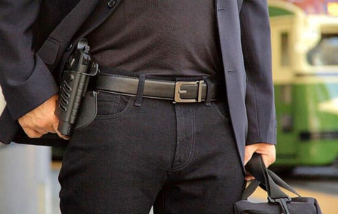 Trakline Gun Belt with holster and sidearm by Kore Essentials.  X3 with black reinforced poly-core.