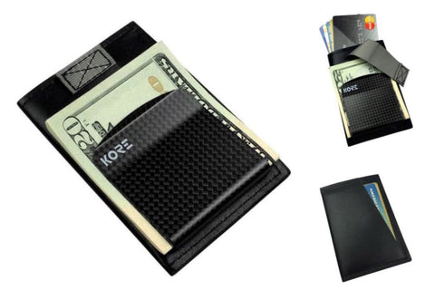 Kore Men's Slim Wallet. RFID blocking, carbon fiber money clip and full-grain leather minimalist wallet.