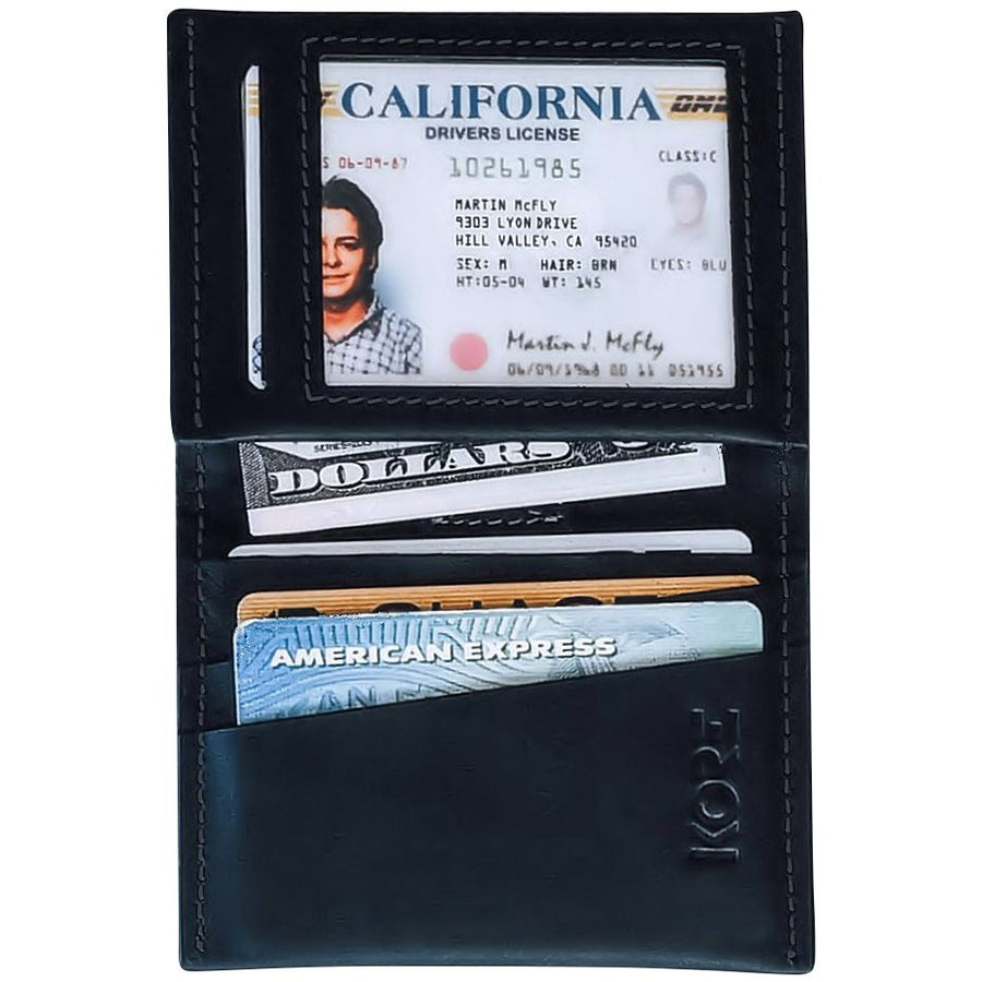 Kore Slim Bi-fold Wallet for Men. Minimalist, Full-grain leather wallet that's RFID Protected to keep credit cards safe.