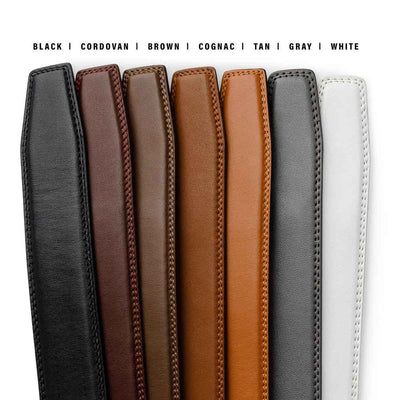 KORE classic double-stitched full grain leather track belts for men.