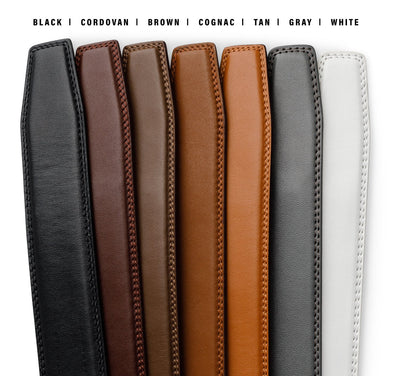 Kore Classic Full-Grain Leather track belts.  No-Holes, ratchet belts for Men by Kore Essentials trakline..