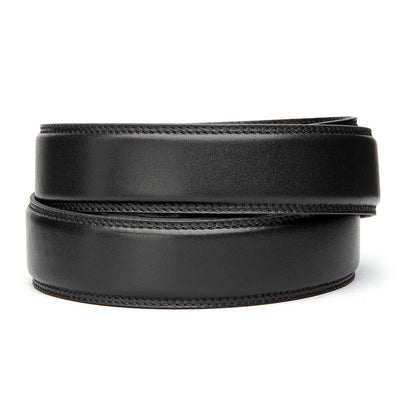 "Classic Black Full Grain Leather Belt. Fits any waist from 24"" to 44"". Men's double-stitched track belts from Kore Essentials"