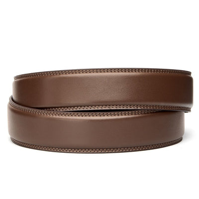 "Classic Brown Full Grain Leather Belt. Fits any waist from 24"" to 44"". Men's double-stitched track belts from Kore Essentials"