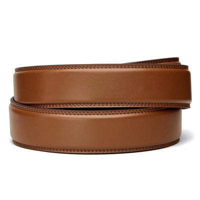 "Classic Cognac Full Grain Leather Belt. Fits any waist from 24"" to 44"". Men's double-stitched track belts from Kore Essentials"