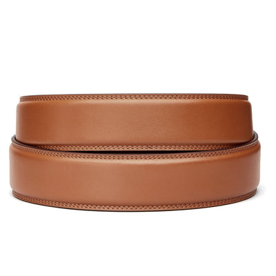 "Classic Tan Full Grain Leather Belt. Fits any waist from 24"" to 44"". Men's double-stitched track belts from Kore Essentials"