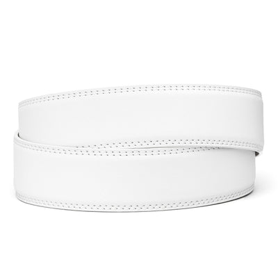 "Classic White Full Grain Leather Belt. Fits any waist from 24"" to 44"". Men's double-stitched track belts from Kore Essentials"