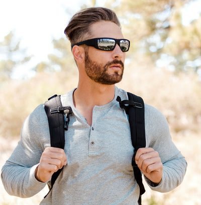 "Kore ""Badlands"" Neo-Lock Sunglasses use embedded smart magnets so you can attach them to your shirt, jacket or gear when not in use. Men's Polarized Sunglasses."
