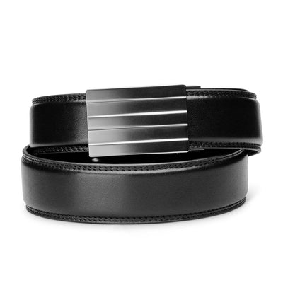 "Kore ""Endeavor"" Ratchet Buckle & Black Full-Grain Leather Track Belt.  No-Holes, ratchet belts fit perfect every time."