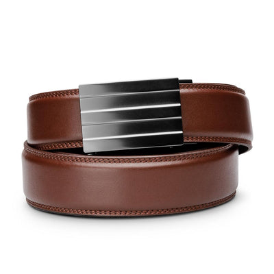 "Kore ""Endeavor"" Ratchet Buckle & Cordovan Full-Grain Leather Track Belt.  No-Holes, ratchet belts fit perfect every time."