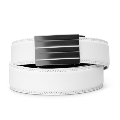"Kore ""Endeavor"" Ratchet Buckle & White Full-Grain Leather Track Belt.  No-Holes, ratchet belts fit perfect every time."