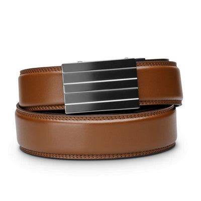 "Kore ""Endeavor"" Ratchet Buckle & Cognac Full-Grain Leather Track Belt.  No-Holes, ratchet belts fit perfect every time."