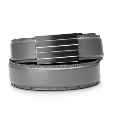 "Kore ""Endeavor"" Ratchet Buckle & Gray Full-Grain Leather Track Belt.  No-Holes, ratchet belts fit perfect every time."