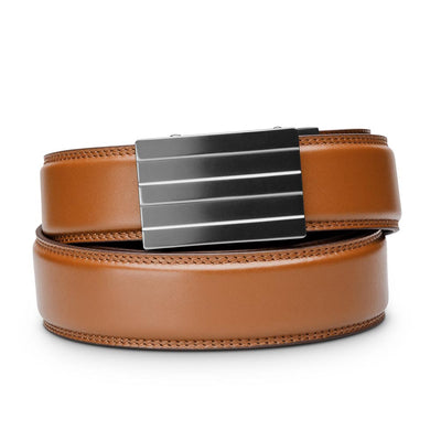 "Kore ""Endeavor"" Ratchet Buckle & Tan Full-Grain Leather Track Belt.  No-Holes, ratchet belts fit perfect every time."