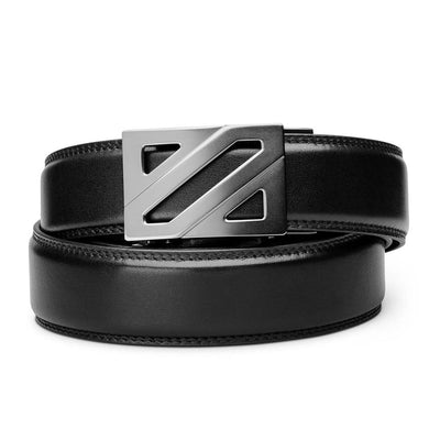"Kore ""Epic"" Ratchet Buckle & Black Full-Grain Leather Track Belt.  No-Hole, ratchet belts that fit perfect every time. Kore Essentials"