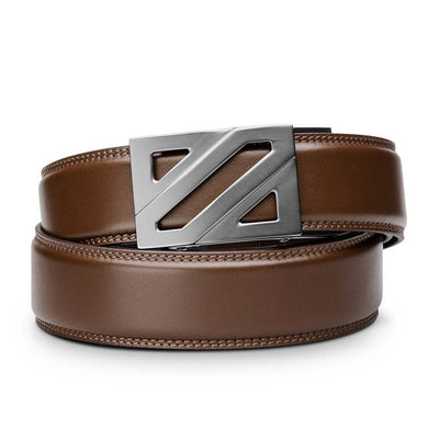 "Kore ""Epic"" Ratchet Buckle & Brown Full-Grain Leather Track Belt.  No-Hole, ratchet belts that fit perfect every time. Kore Essentials"