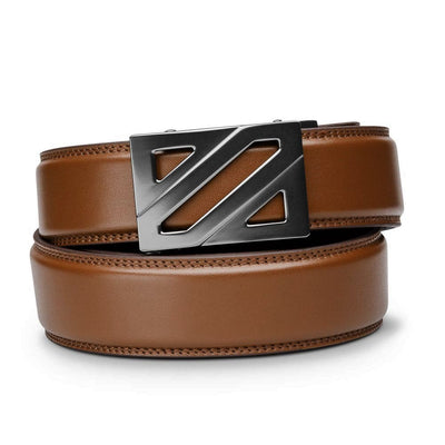 "Kore ""Epic"" Ratchet Buckle & Cognac Full-Grain Leather Track Belt.  No-Hole, ratchet belts that fit perfect every time. Kore Essentials"