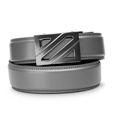 "Kore ""Epic"" Ratchet Buckle & Gray Full-Grain Leather Track Belt.  No-Hole, ratchet belts that fit perfect every time. Kore Essentials"
