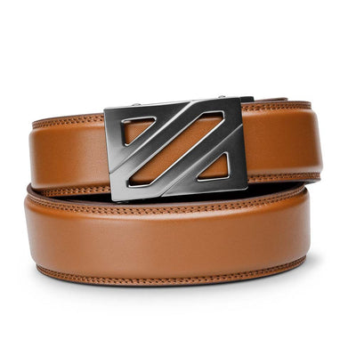 "Kore ""Epic"" style Ratchet Buckle with Tan Full-Grain Leather Track Belt.  No-Holes, ratchet belt that fit perfect every time. Kore Essentials"