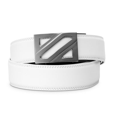 "Kore ""Epic"" Ratchet Buckle & White Full-Grain Leather Track Belt.  No-Hole, ratchet belts that fit perfect every time. Kore Essentials"