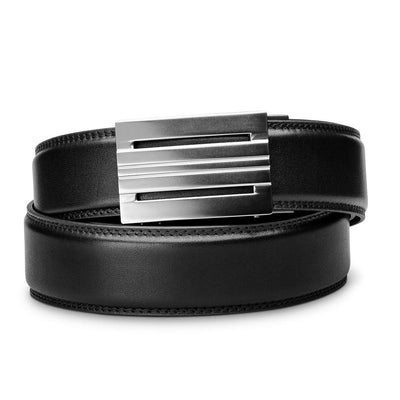 "Kore ""Equinox"" Ratchet Buckle & Black Full-Grain Leather Track Belt.  No-Holes, ratchet belts fit perfect every time."