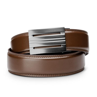 "Kore ""Equinox"" Ratchet Buckle & Brown Full-Grain Leather Track Belt.  No-Holes, ratchet belts fit perfect every time."