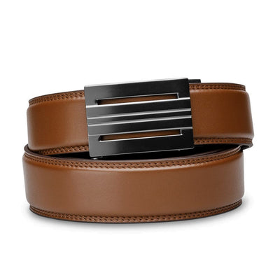 "Kore ""Equinox"" Ratchet Buckle & Cognac Full-Grain Leather Track Belt.  No-Holes, ratchet belts fit perfect every time."