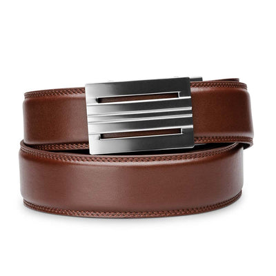 "Kore ""Equinox"" Ratchet Buckle & Cordovan Full-Grain Leather Track Belt.  No-Holes, ratchet belts fit perfect every time."