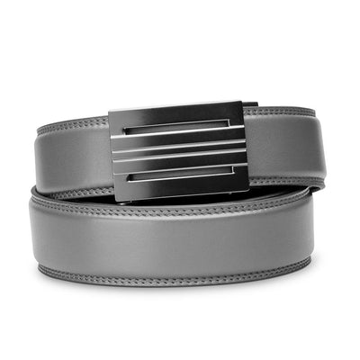 "Kore ""Equinox"" Ratchet Buckle & Gray Full-Grain Leather Track Belt.  No-Holes, ratchet belts fit perfect every time."