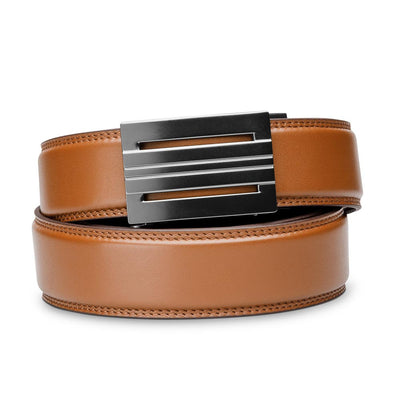 "Kore ""Equinox"" Ratchet Buckle & Tan Full-Grain Leather Track Belt.  No-Holes, ratchet belts fit perfect every time."