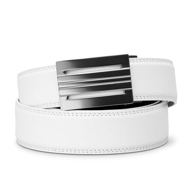 "Kore ""Equinox"" Ratchet Buckle & White Full-Grain Leather Track Belt.  No-Holes, ratchet belts fit perfect every time."