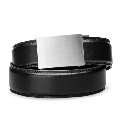 "Kore ""Eureka"" Solid Stainless Steel Ratchet Buckle & Black Full-Grain Leather Track Belt.  No-Holes, ratchet belts fit perfect every time."