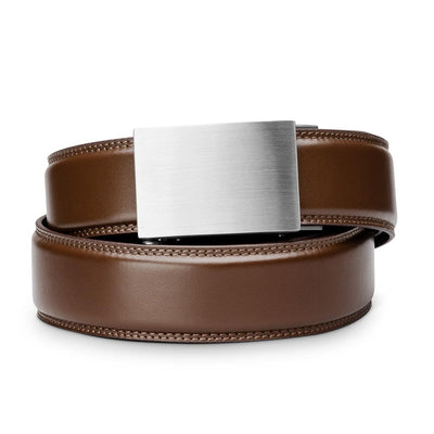 "Kore ""Eureka"" Solid Stainless Steel Ratchet Buckle & Brown Full-Grain Leather Track Belt.  No-Holes, ratchet belts fit perfect every time."