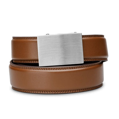 "Kore ""Eureka"" Solid Stainless Steel Ratchet Buckle & Cognac Full-Grain Leather Track Belt.  No-Holes, ratchet belts fit perfect every time."